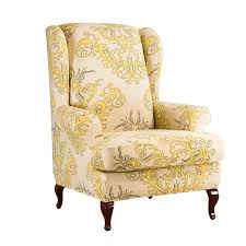 Subrtex Spandex Universal Wing Back Armchair Covers Floral Printed Chair  Slipcovers Furniture Protector (Yellow) Sure Fit Ballad Bouquet Wing Chair Slipcover Ding Room Armchair Slipcovers Kitchen Interiors Subrtex Printed Leaf Stretchable Ding Room Yellow 2pcs Ektorp Tullsta Chair Cover Removable Seat Graffiti Pattern Stretch Cover 6pcs Spandex High Back Home Elastic Protector Red Black Gray Blue Gold Coffee Fortune Fabric Washable Slipcovers Set Of 4 Bright Eaging Accent And Ottoman Recling Queen Anne Wingback History Covers Best Stretchy Living Club For Shaped Fniture