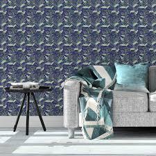 dunkel blaue tapete birds mit dschungel vögeln vlies tapete blumen tiere schöne blumentapete für flur büro