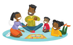 Young Happy African Parents With Their Little Children Sitting On The Floor And Playing Together Board Game At Home Family Vacation Concept
