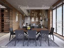 moderne esszimmer mit esstisch und 8 stühle in einem loftstilapartment mit küche und wohnzimmer stockfoto und mehr bilder design