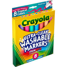 Crayola Bathtub Crayons 18 Vibrant Colors by Tropical Colors Pack Washable Markers Walmart Com