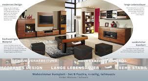 easy möbel wohnzimmer komplett set b postira 11 teilig teilmassiv farbe walnuss schwarz