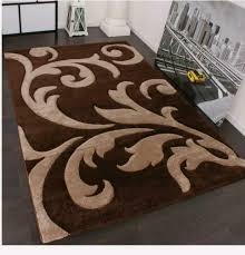 teppich kurzflor floral design modern wohnzimmer design braun und