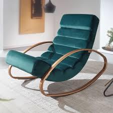 wohnling relaxliege samt grün gold 110 kg belastbar relaxsessel 61x81x111 cm design schaukelstuhl innenbereich schwingstuhl lounge liege modern
