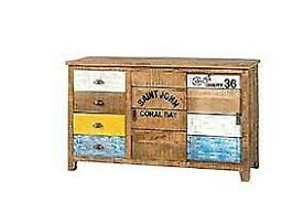 details zu sideboard hilda mango holz hellbraun bunt vintage kommode wohnzimmer esszimmer
