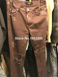 2017 wholesale ripped knee holes represent coffee khaki army green