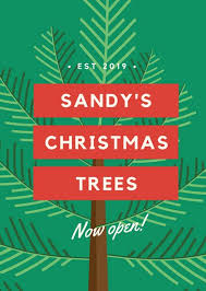 Green Christmas Tree Sale Opening Flyer
