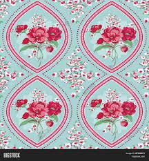 Image Of Vintage Floral Background Seamless Flowers Tile Pattern