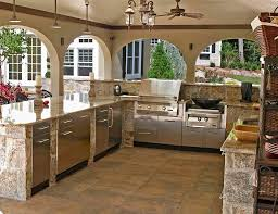 Kitchen Farmhouse Kitchen Design With Travertine Tile Flooring