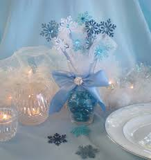 Beautiful Christmas Centerpiece For White Silver Blue Table