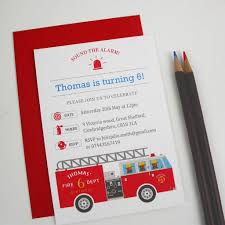 Children's Fire Engine Party Invitation