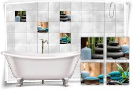 fliesenaufkleber fliesenbild zen steine kerze petrol wellness spa aufkleber deko bad wc