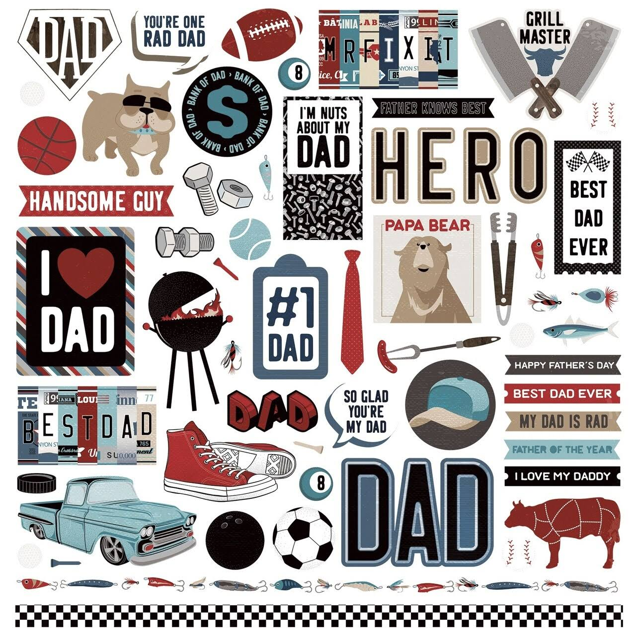 Photo Play Paper Best Dad Ever Elements Stickers
