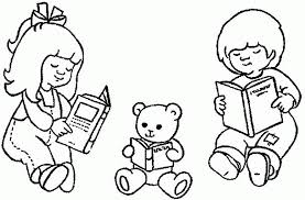 Boy And Girl Read Book Coloring Pages 435344 A