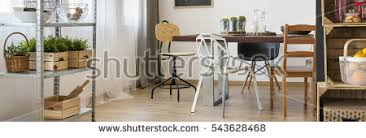 Functional Dining Room Decor Wooden Furniture Stock Photo Royalty