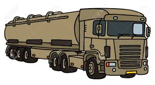 100 Military Semi Truck Towing With A Tank Trailer Royalty Free Cliparts