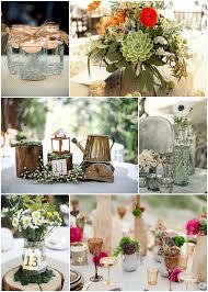 Second Row L R Wood Stumps Lantern And Kettle Centerpiece Rustic Glass Metallic Vases Bottom Mason Jar Vase With
