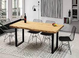 gozos esstisch massivholz aus baumstamm holztisch esszimmer 140x80 aus massiven holz mit u metallbeinen baumkantentisch handgefertigt aus echtholz