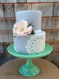 Lace Doily Peony Rustic Elegant Barn Shower Cake