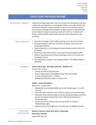 Resume For Child Care Provider Ideas Templates Free