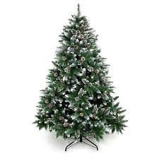 Xmas Tree 6 Feet Flocked Snow Trees Pine Cone Unlit Artificial Christmas
