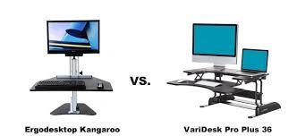 Kangaroo Standing Desk Dual Monitor by Ergodesktop Kangaroo Vs Varidesk Pro Plus 36 Which Is Better