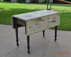 Rustic Antique Farmhouse Dining Room Or Kitchen Drop Leaf Table Vintage Original Cond Chippy Peeling Cottage Shabby Chic Paint Country