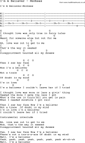 Rhinoceros Smashing Pumpkins Tab by Song I U0027m A Believer By Monkees With Lyrics For Vocal Performance