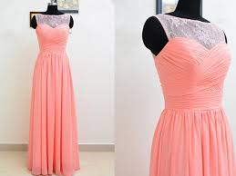 pretty light coral lace long simple prom dresses 2016 long prom