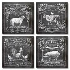 Chalkboard Style Kitchen Art Dairy Farm Old Mill Mornighside Valley View Sheep Cow Rooster Pig Four 12x12in Paper Prints Printed On