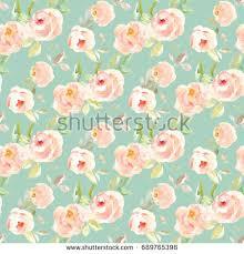 Teal Vintage Watercolor Floral Background Pattern