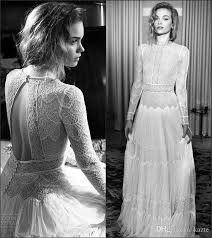 Discount Vintage 1920s Lace Long Sleeve Castle Civil Wedding Dresses 2018 Modest Lihi Hod Muslim Full Length Garden Country Bridal Gown
