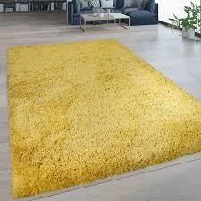 hochflor wohnzimmer teppich waschbar shaggy flokati optik einfarbig in gelb grösse 60x100 cm