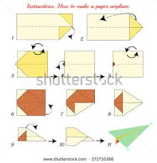 Instructions How To Make Paper Airplane Plane Tutorial Step By Vector