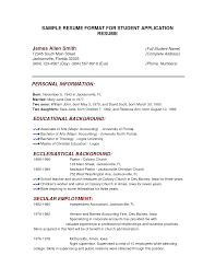 Resume Format For College Applications Examples On Objective Example