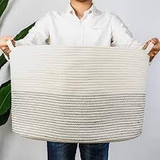 indressme groß wäschekorb aufbewahrungskorb für spielzeug baumwolle seil korb mit henkel für decken kissen weiß mit schwarze naht d55 x h35 cm