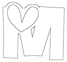 Letter M With Big Love Coloring Page