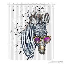 großhandel cooles zebra in gläsern duschvorhang für badezimmer chic funky hippie gestreiftes tiermotiv print mehltau resistent