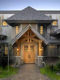 Craftsman Style Double Doors In Knotty Alder On A Mountain Rustic Home