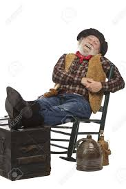 100 Cowboy In Rocking Chair Classic Old West Style Laughing With Felt Hat Grey Whiskers