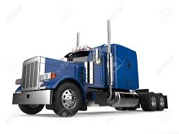 Blue 18 Wheeler Truck - No Trailer - Low Angle Shot Stock Photo ...
