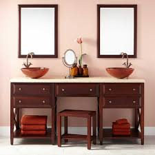 Bathroom Vanities With Matching Makeup Area by Double Sink Vanity With Makeup Counter Traditional Beige Tile