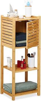 relaxdays badregal aus bambus 3 ablagen 1 fach mit tür bad küche schmales badmöbel hbt 87 5 x 35 x 29 cm natur 1 stück