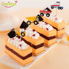 24 stücke auto baby traktor kuchen topper mini drehmaschine holz dekoration geburtstag backen zubehör hochzeit spezielle veranstaltungen
