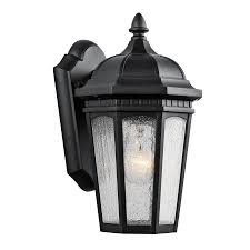 shop kichler courtyard 11 in h textured black outdoor wall light