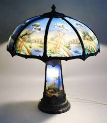 Duffner And Kimberly Lamps by Spectacular Miller Reverse Painted Panel Lamp W Lit Base C 1910