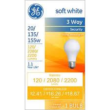 ge soft white 3 way 20 135 155 watt security light bulb 8j908