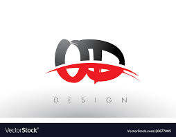 Od o d brush logo letters with red and black Vector Image