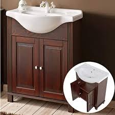 lomadox landhaus waschtischunterschrank 65cm keramik waschbecken aveiro 56 pinie massivholz braun b h t 65 81 43cm