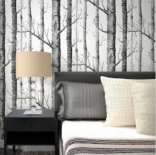 brich baum muster vlies woods tapetenbahn moderne designer tapete schwarz weiß tapeten für wohnzimmer